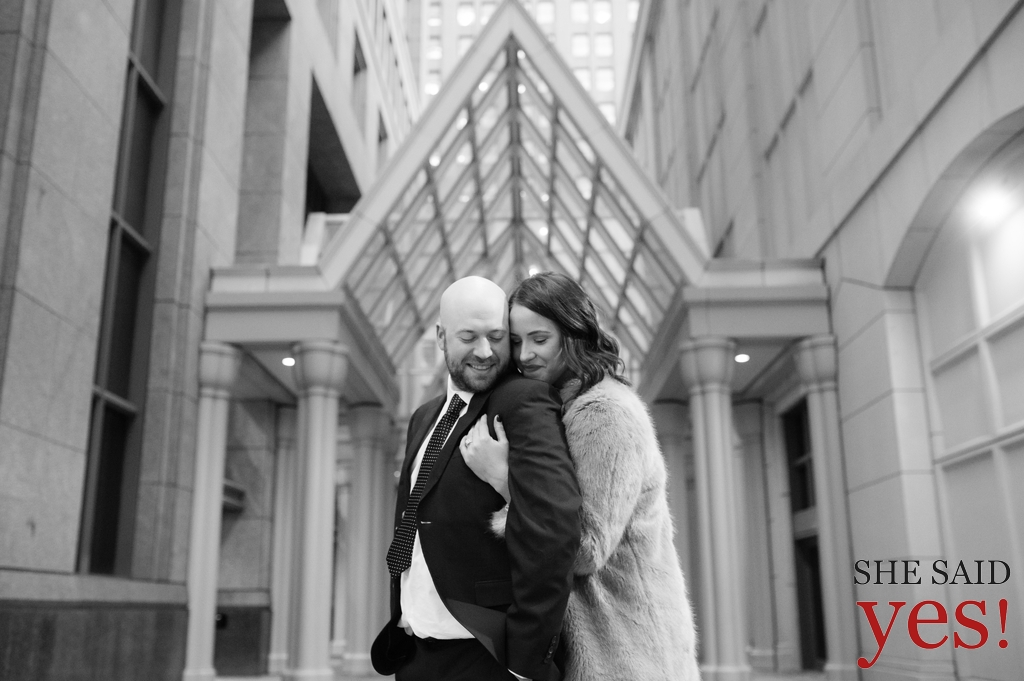 Engagement session near Campus Martius Detroit